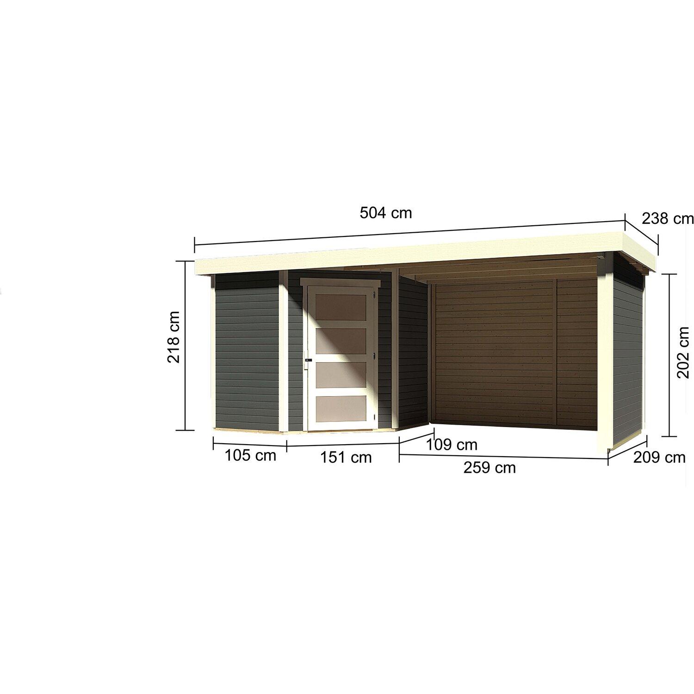 Karibu Holz Gartenhaus Linkobing 3 Terragrau Bxt 468x213 Davon 259 Cm Anbaudach Kaufen Bei Obi