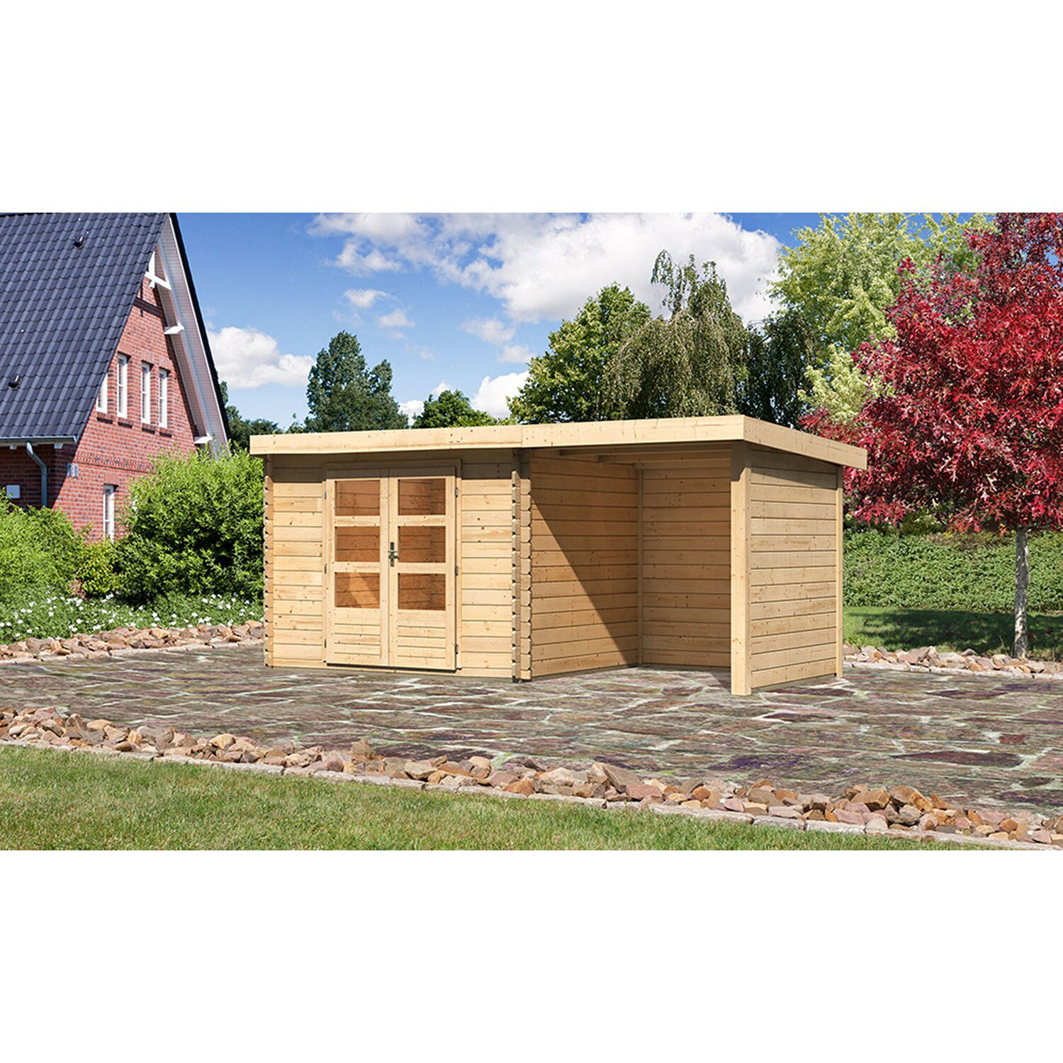 holz gartenhaus ngelholm 3 natur set mit seiten. Black Bedroom Furniture Sets. Home Design Ideas