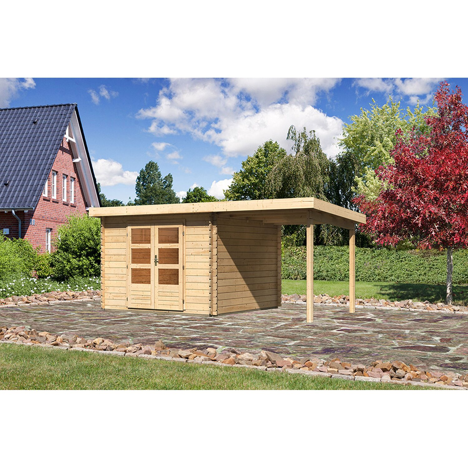 karibu holz gartenhaus ngelholm 5 natur set bxt 480x280. Black Bedroom Furniture Sets. Home Design Ideas