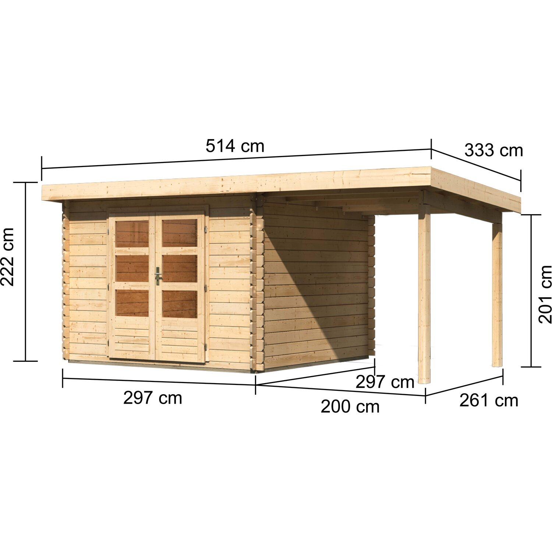 Holz-Gartenhaus Ängelholm 5 Natur Set mit 2 m Schleppdach 480 cm x ...