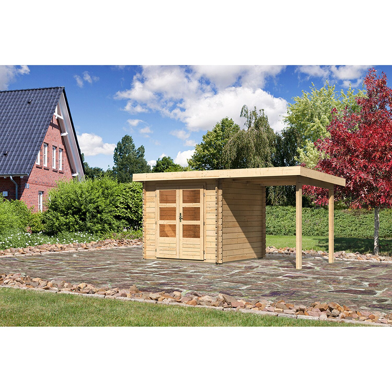 Karibu Holz-Gartenhaus Ängelholm 2 Natur Set BxT 420x220 davon 200 cm Anbaudach