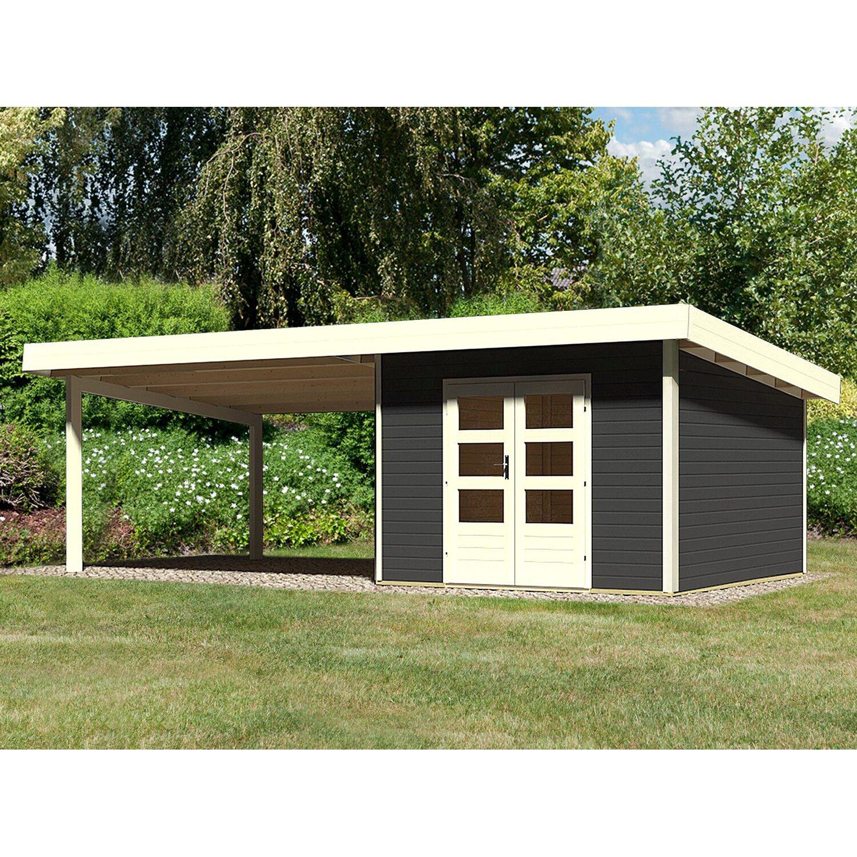 Holz Gartenhaus Karlskoga 3 Opalgrau Set Mit 4 M