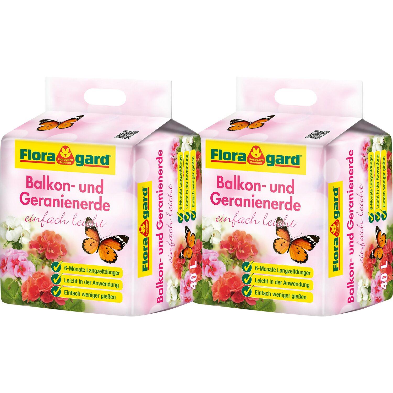 Floragard  Balkon- und Geranienerde mit Langzeitdünger einfach leicht 2 x 40 l