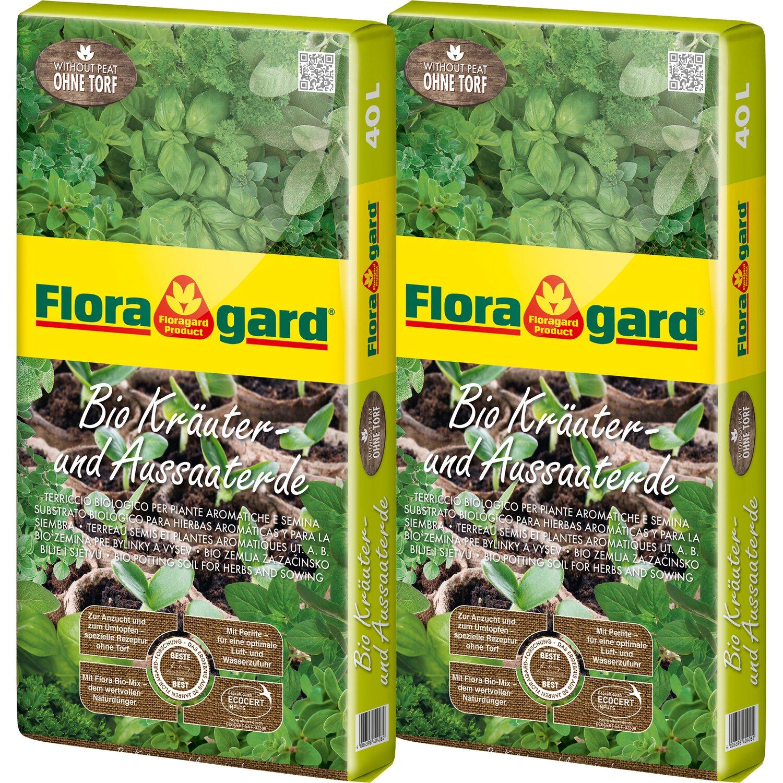 Floragard  Bio Kräuter- und Aussaaterde ohne Torf 2 x 40 l
