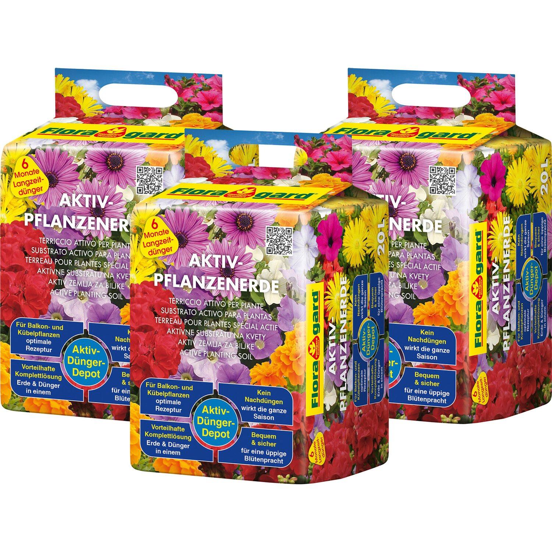 Floragard  Aktiv Pflanzenerde 3 x 20 l