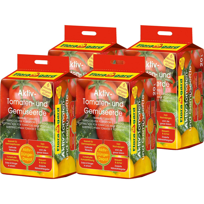 Floragard  Aktiv Tomaten- und Gemüseerde 4 x 20 l