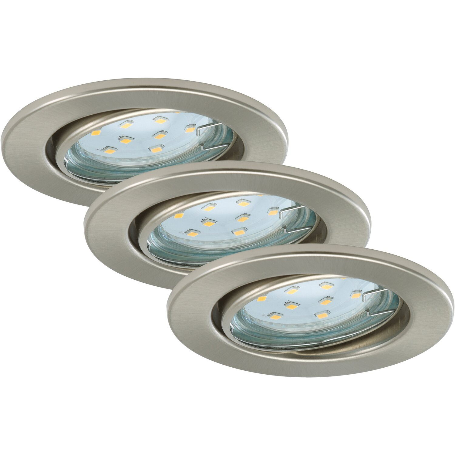 Briloner  LED-Einbauleuchten EEK: A+ 3er-Set Nickel matt
