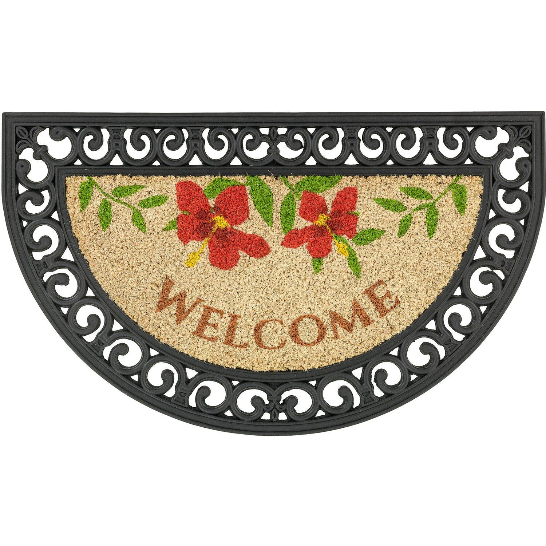 ASTRA -Kollektion Fußmatte Coco Relief Welcome Blumen 45 cm x 75 cm