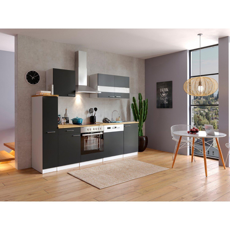respekta k chenzeile kb250wsc 250 cm schwarz wei kaufen. Black Bedroom Furniture Sets. Home Design Ideas