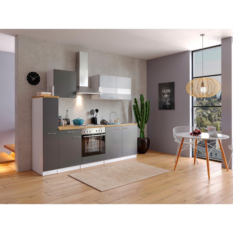 Respekta kuchenzeile kb240wg 240 cm grau weiss kaufen bei obi for Küchenzeile 240 cm