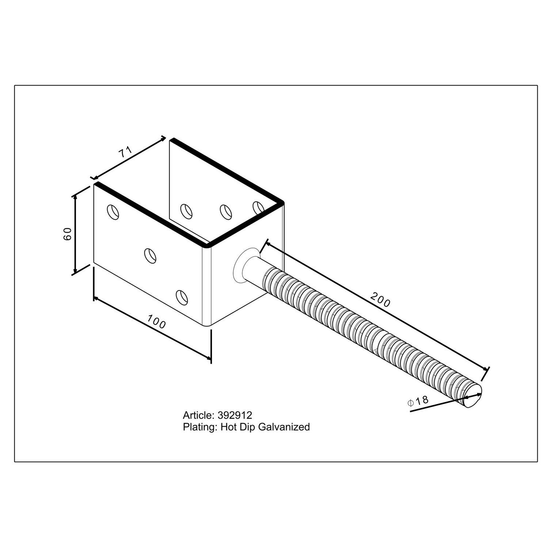 pfostentr ger u form mit steindolle 200 mm x 71 mm x 60 mm kaufen bei obi. Black Bedroom Furniture Sets. Home Design Ideas