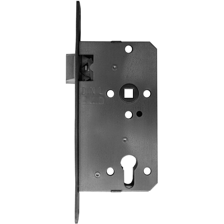 Bever Korridorschloss für Profilzylinder gefälzt DIN links Silber lackiert