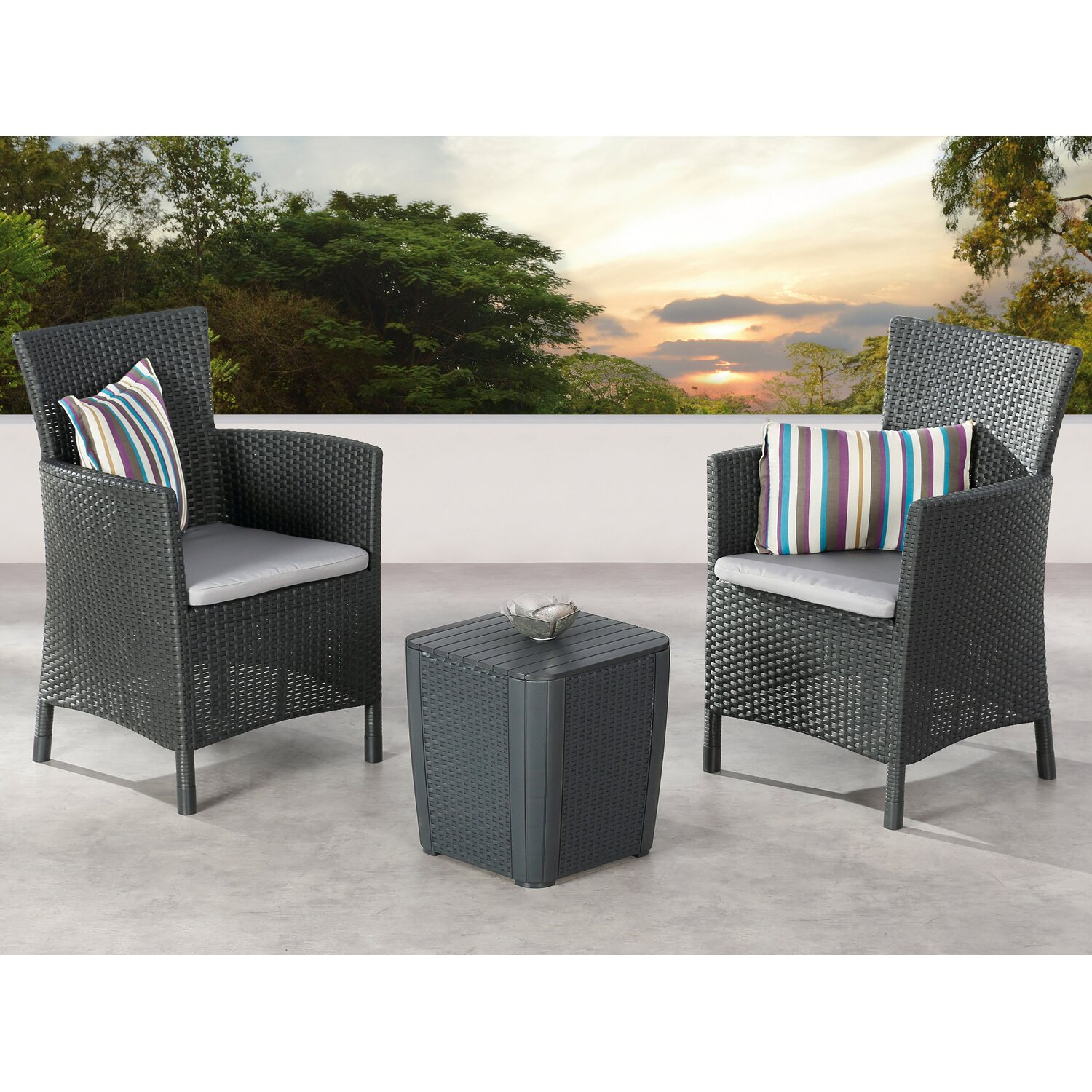 balkon set napoli 3 tlg graphit hellgrau kaufen bei obi. Black Bedroom Furniture Sets. Home Design Ideas
