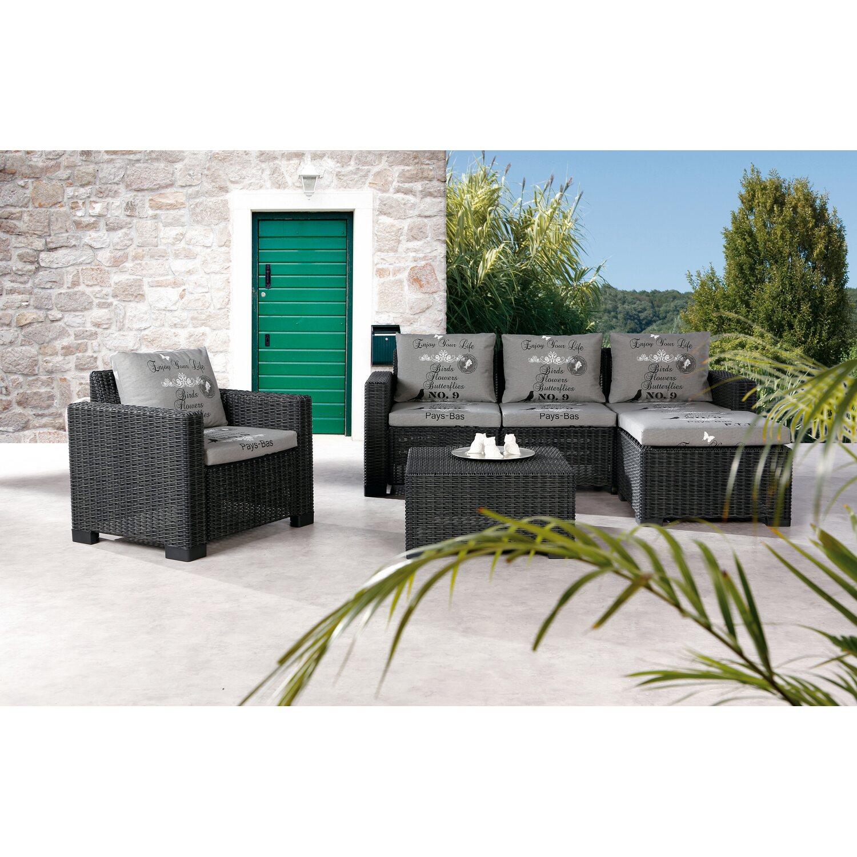 Gartenmöbel Lounge-Gruppe Kenia 4-tlg. Graphit/Grau kaufen bei OBI
