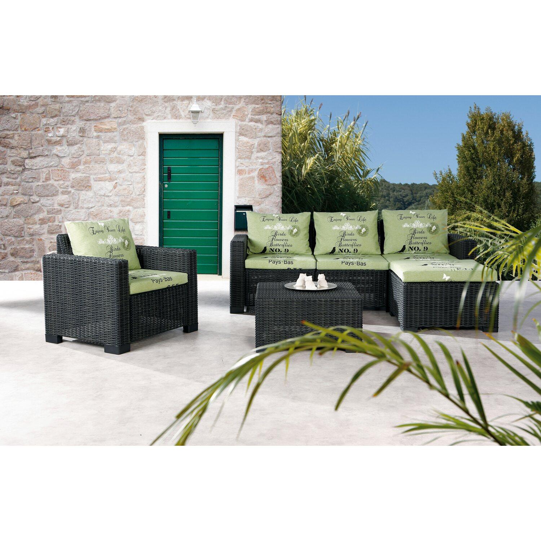 Gartenmöbel Lounge-Gruppe Kenia 4-tlg. Graphit/Grün kaufen bei OBI