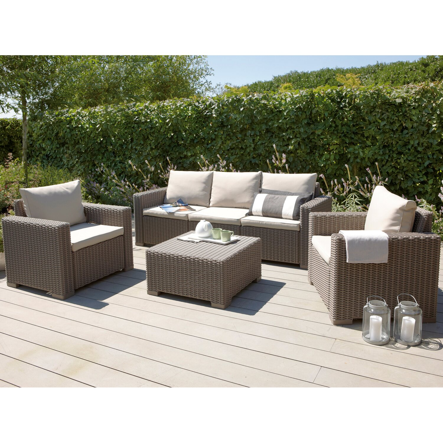 gartenm bel lounge gruppe mombasa 4 tlg cappuccino sand kaufen bei obi. Black Bedroom Furniture Sets. Home Design Ideas