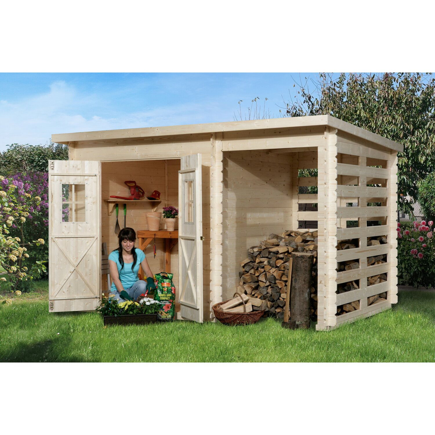 obi holz gartenhaus cortina b 330 cm x 200 cm mit anbau. Black Bedroom Furniture Sets. Home Design Ideas
