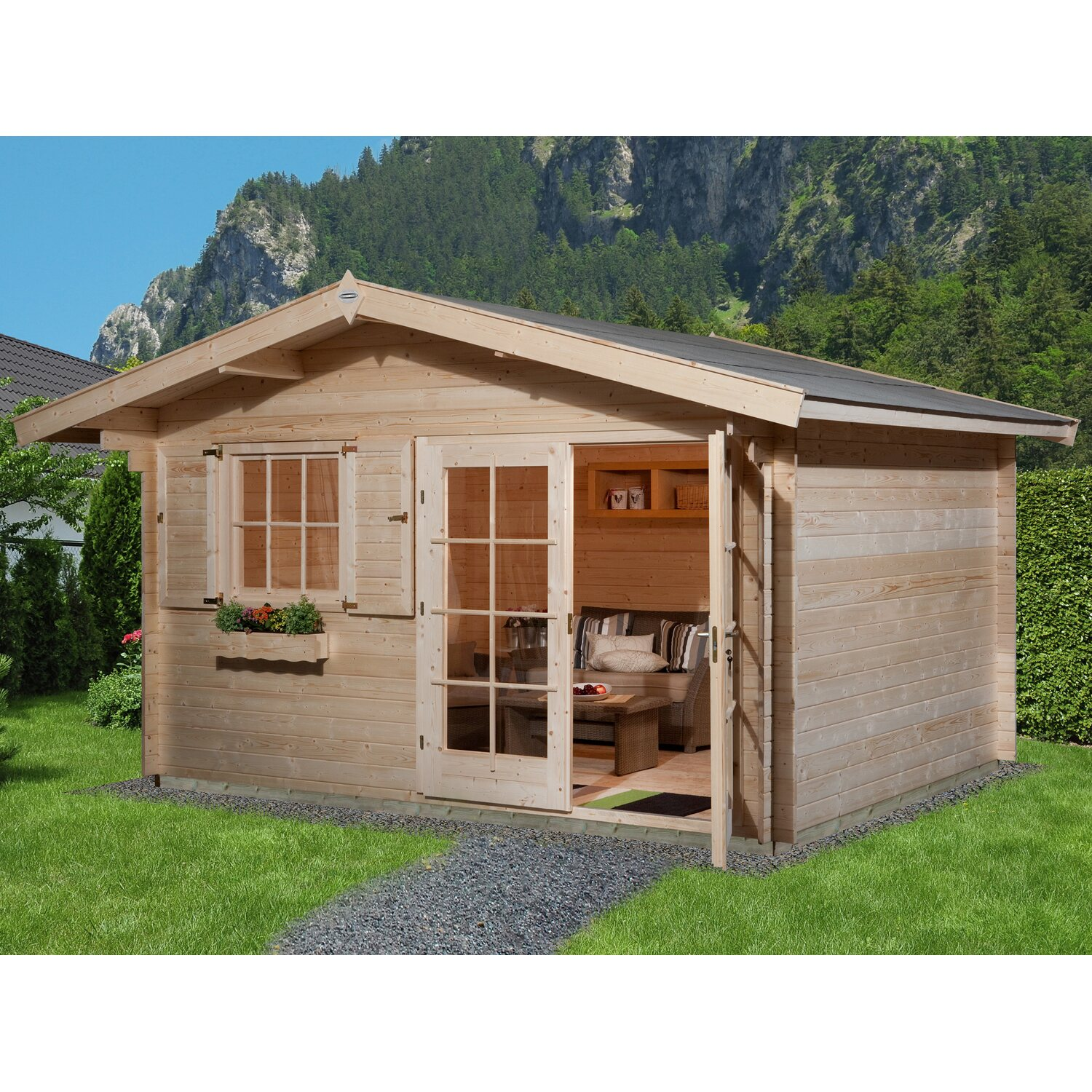 obi holz gartenhaus panorama b 380 cm x 380 cm mit vordach 60 cm kaufen bei obi. Black Bedroom Furniture Sets. Home Design Ideas