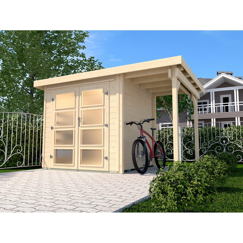 weka holz gartenhaus pesaro b natur bxt 313 cm x 194 cm davon 115 cm anbaudach kaufen bei obi. Black Bedroom Furniture Sets. Home Design Ideas
