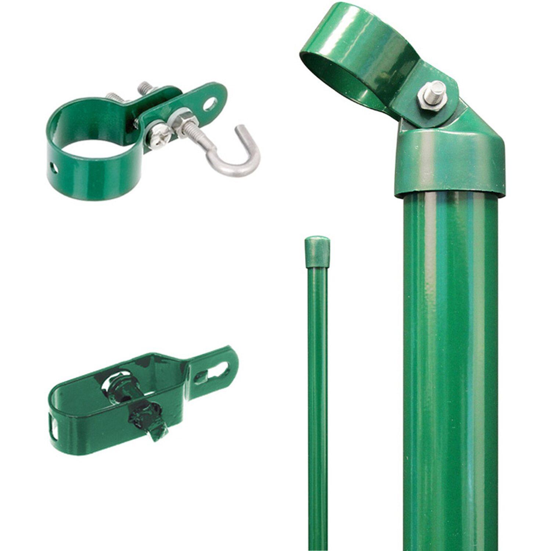 GAH Alberts Eck-Set für Maschendraht-Zaun Grün 150 cm Hoch zum Einbetonieren