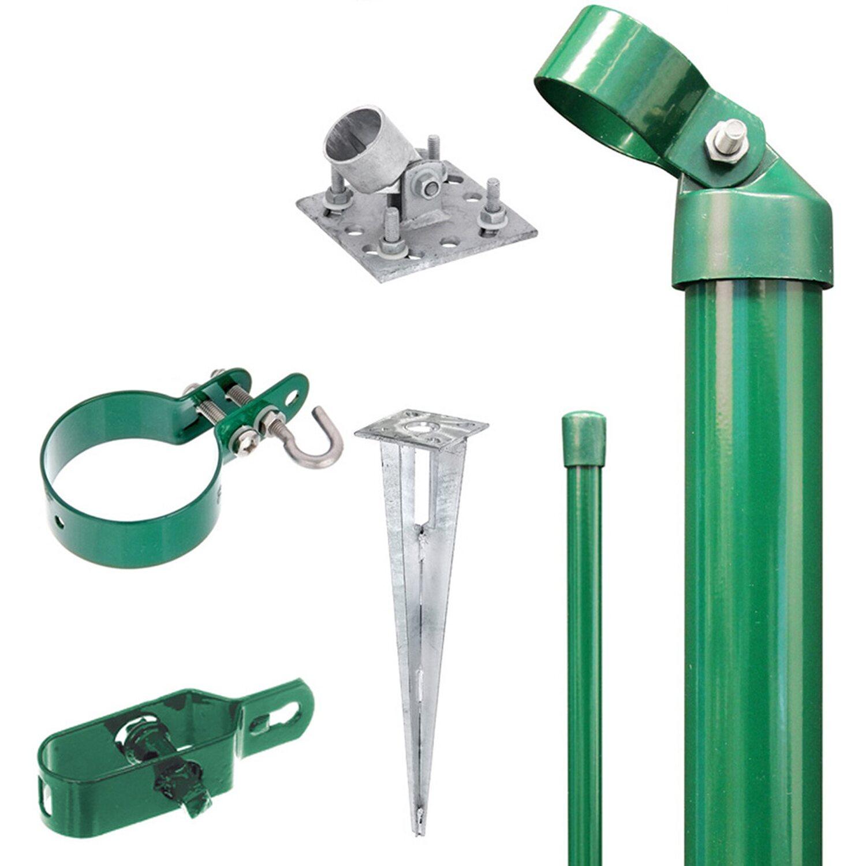 GAH Alberts Eck-Set für Maschendraht-Zaun Grün 80 cm Hoch zum Aufschrauben