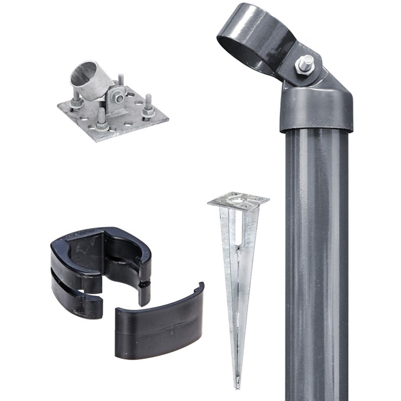 GAH Alberts Eck-Set für Zaun Fix-Clip Pro Anthrazit 122 cm Hoch zum Aufschrauben