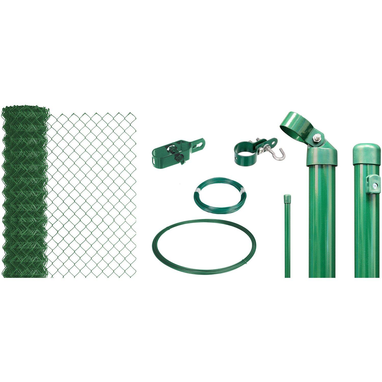Maschendraht-Zaun-Set 175 cm Hoch 25 m Länge Grün zum Einbetonieren Preisvergleich