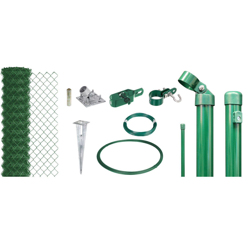 Maschendraht-Zaun-Set 100 cm Hoch 25 m Länge Grün für Einschlagbodenhülsen Preisvergleich
