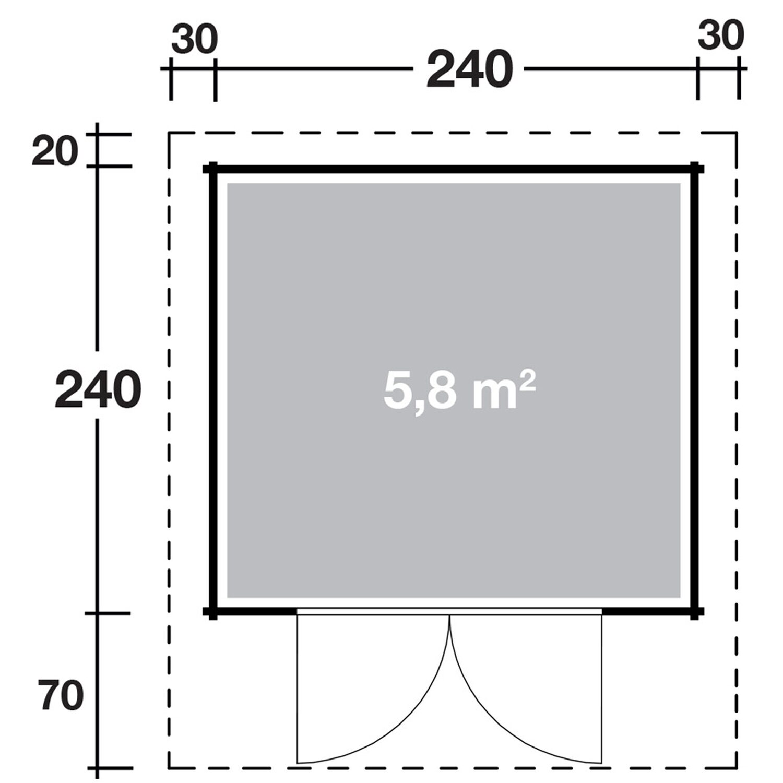 wolff finnhaus holz gartenhaus britta 34 a 240 cm x 240 cm. Black Bedroom Furniture Sets. Home Design Ideas