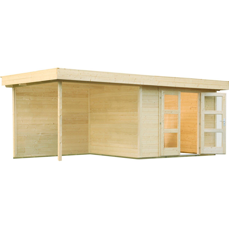 Wolff Finnhaus Holz-Gartenhaus Calais mit Anbau & Rückwand 555 cm x 250 cm