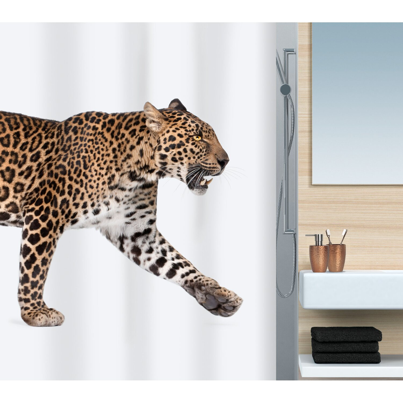 spirella duschvorhang textil leopard 180 cm x 200 cm beige black kaufen bei obi. Black Bedroom Furniture Sets. Home Design Ideas
