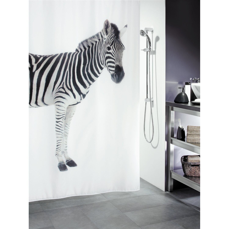 spirella duschvorhang textil zebra 180 cm x 200 cm black kaufen bei obi. Black Bedroom Furniture Sets. Home Design Ideas