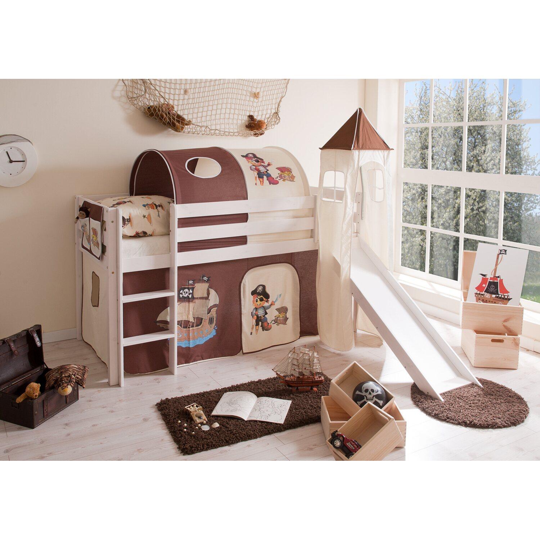 hochbett mit rutsche und turm pirat braun beige kaufen. Black Bedroom Furniture Sets. Home Design Ideas