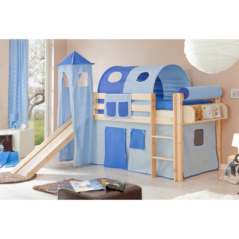 hochbett mit rutsche und turm hellblau dunkelblau kaufen. Black Bedroom Furniture Sets. Home Design Ideas