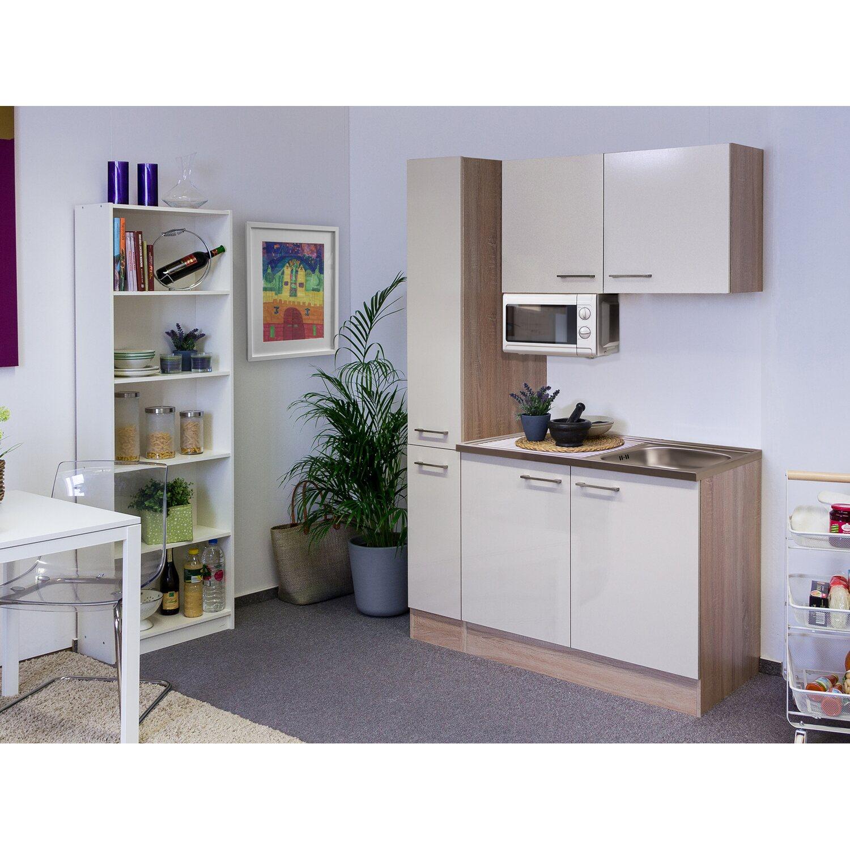 Flex-Well Singleküche/Miniküche 130 cm Orlando Kaschmir Glanz-Sonome Eiche   Küche und Esszimmer > Küchen > Miniküchen   Flex-Well Exclusiv