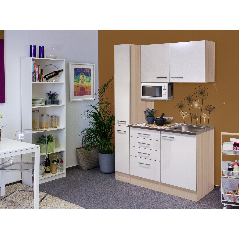 Flex-Well Singleküche/Miniküche 130 cm Abaco Perlmutt glänzend-Akazie | Küche und Esszimmer > Küchen > Miniküchen | Weiß - Silber | Edelstahl - Ab - Lackiert | Flex-Well Exclusiv