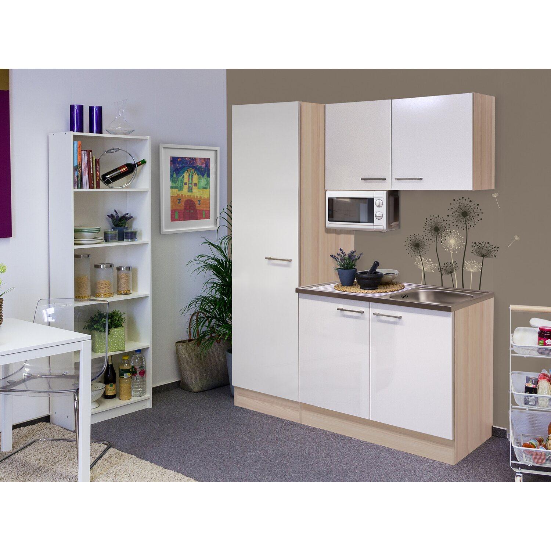 Flex-Well Singleküche/Miniküche 150 cm Abaco Perlmutt glänzend-Akazie | Küche und Esszimmer > Küchen > Miniküchen | Flex-Well Exclusiv