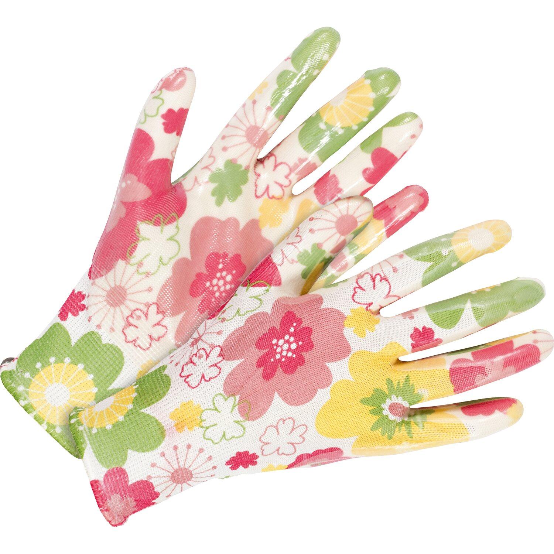 Gartenhandschuh Nitril-Teilbeschichtung Weiß-Pink Größe 8 2er Set