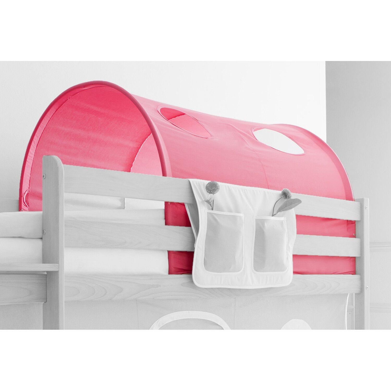 Tunnel für Hoch- und Etagenbetten Landhaus Rosa-Weiß