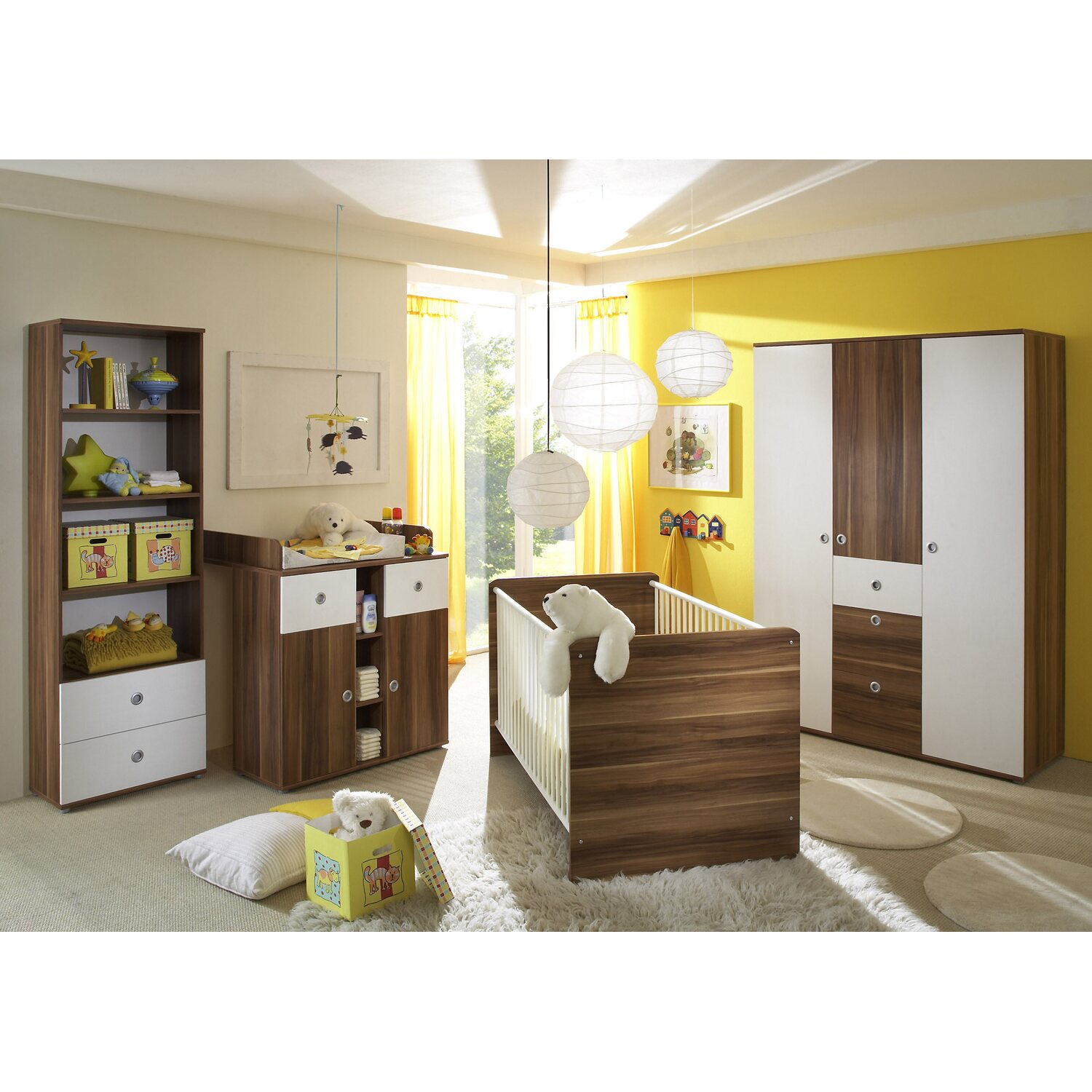 babyzimmer set milu 4 teilig wallnuss nachbildung wei kaufen bei obi. Black Bedroom Furniture Sets. Home Design Ideas