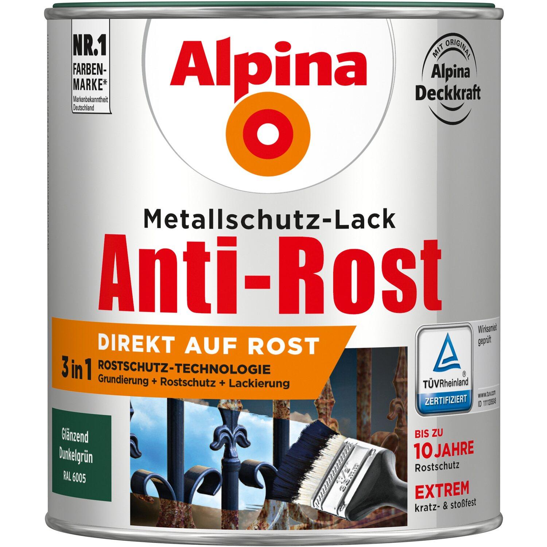 alpina metallschutz lack anti rost dunkelgr n gl nzend 750 ml kaufen bei obi. Black Bedroom Furniture Sets. Home Design Ideas