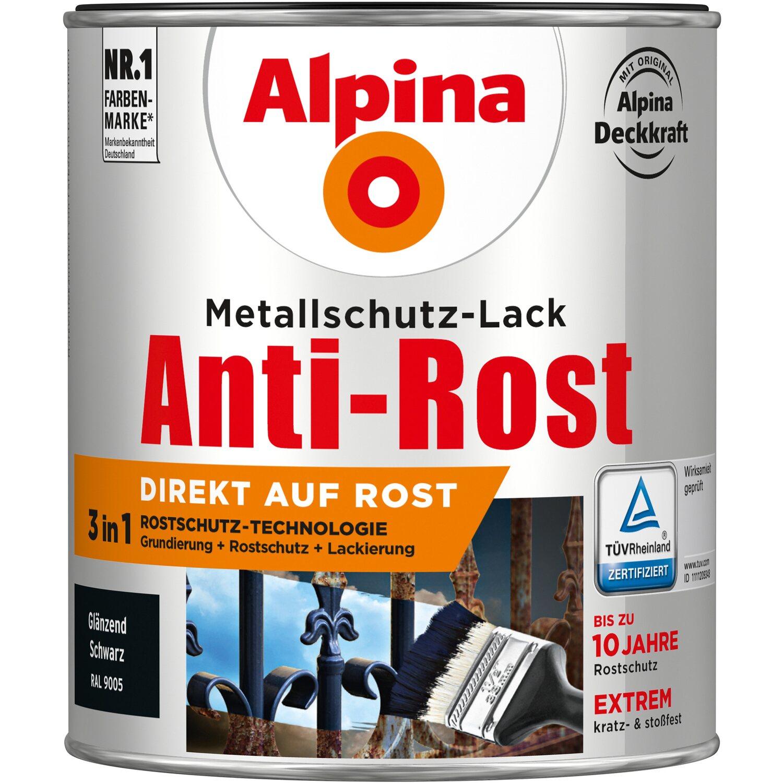 alpina metallschutz lack anti rost schwarz gl nzend 750 ml kaufen bei obi. Black Bedroom Furniture Sets. Home Design Ideas