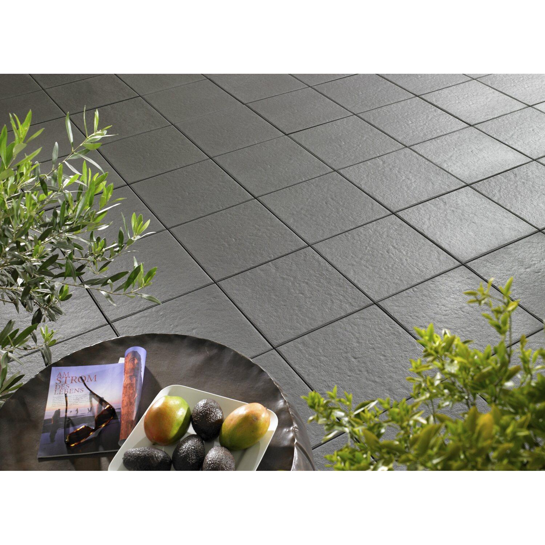 Terrassenplatte Beton Sintra Anthrazit Strukturiert Versiegelt 40 X