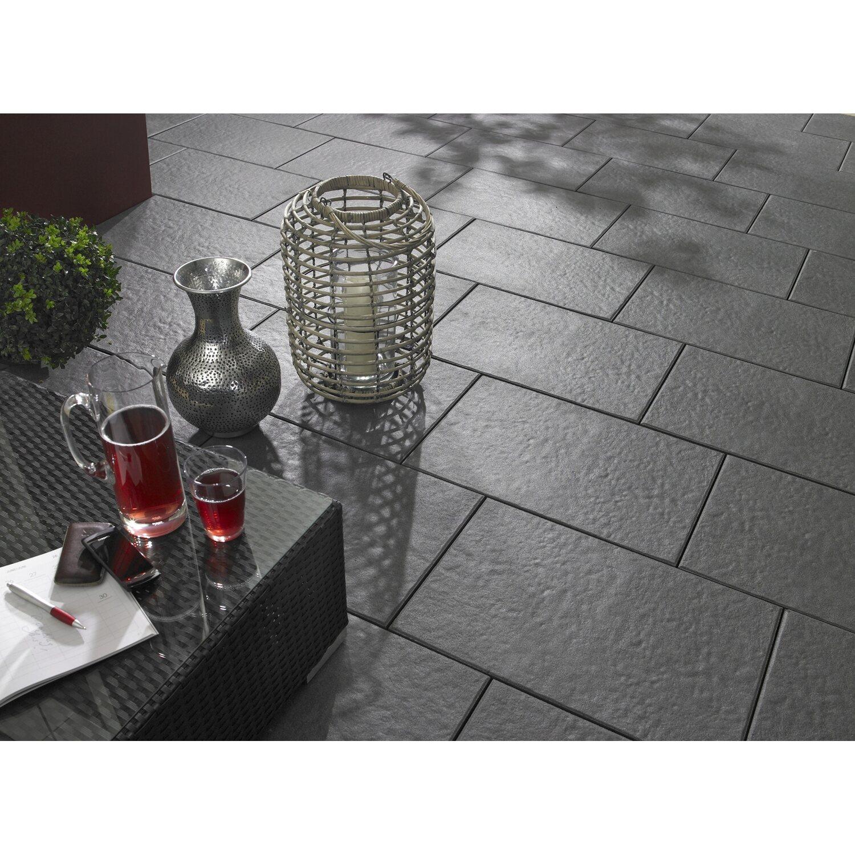Terrassenplatte Beton Sintra Anthrazit Strukturiert Versiegelt X - Betonpflaster 40x40