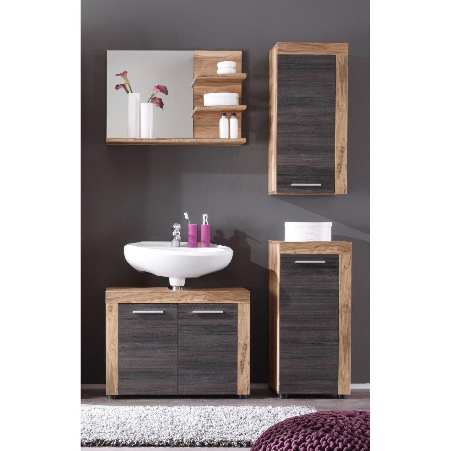 h ngeschrank cancun boom dunkelbraun nussbaum nachbildung kaufen bei obi. Black Bedroom Furniture Sets. Home Design Ideas