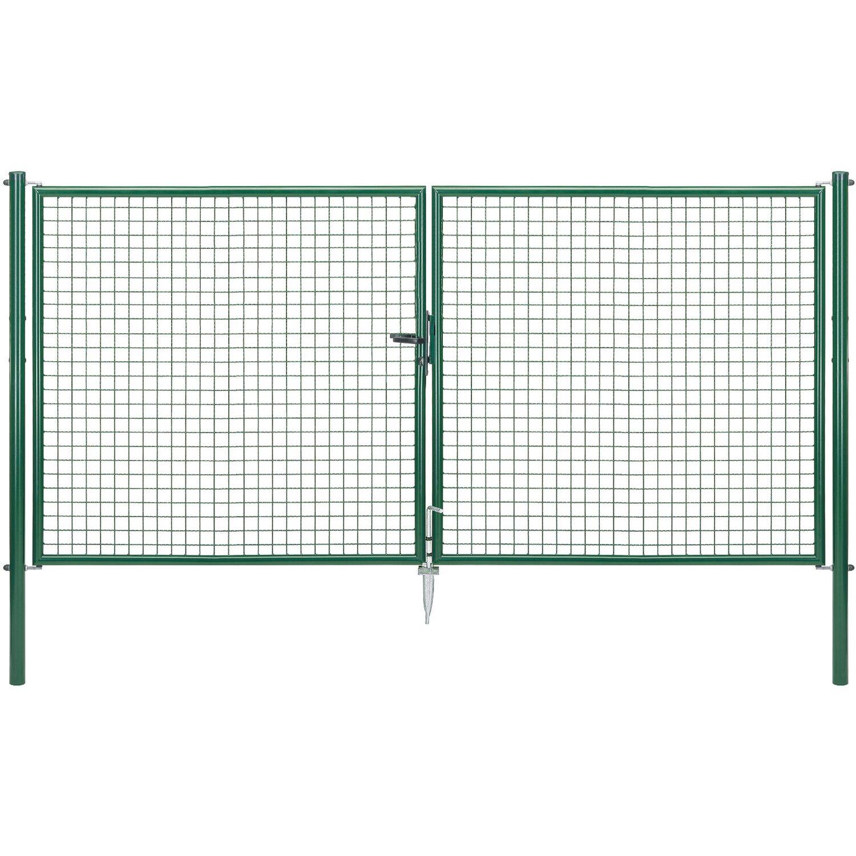 GAH Alberts Doppeltor für Maschendraht- und Fix-Clip Pro-Zaun Grün 150 cm x 300 cm
