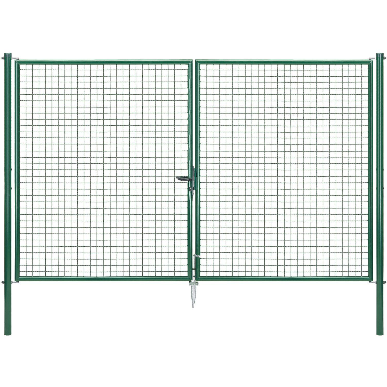 GAH Alberts Doppeltor für Maschendraht- und Fix-Clip Pro-Zaun Grün 200 cm x 300 cm