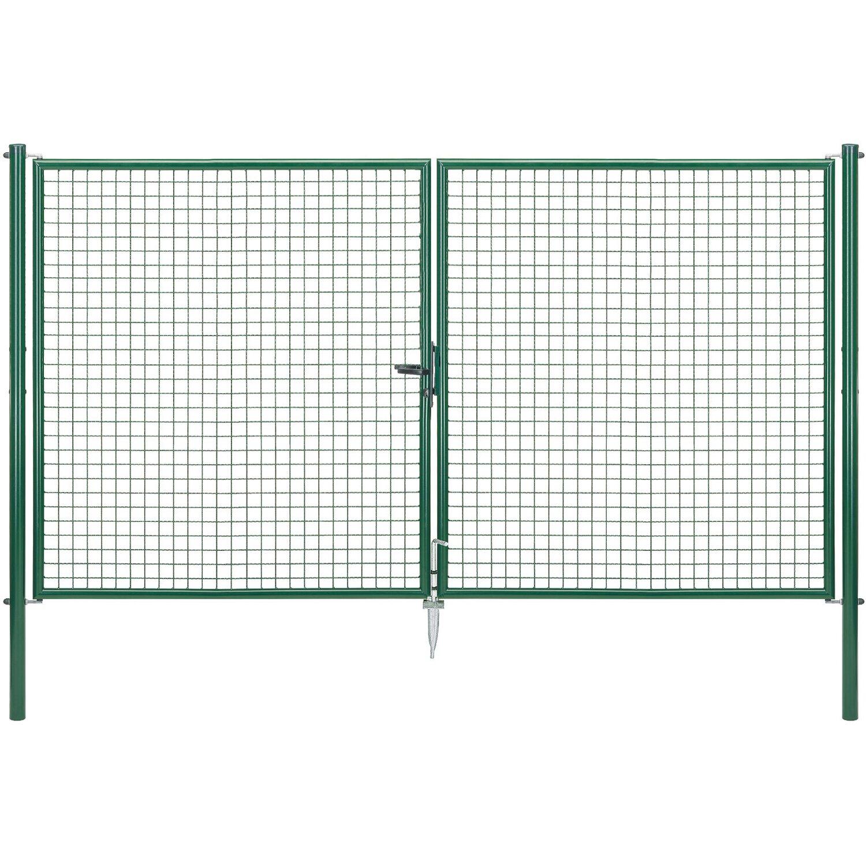 GAH Alberts Doppeltor für Maschendraht- und Fix-Clip Pro-Zaun Grün 175 cm x 300 cm