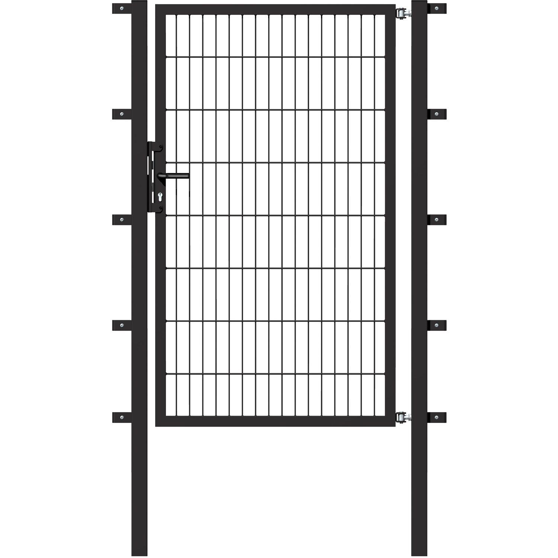 metallzaun einzeltor f r doppelstabmatte anthrazit 200 cm. Black Bedroom Furniture Sets. Home Design Ideas