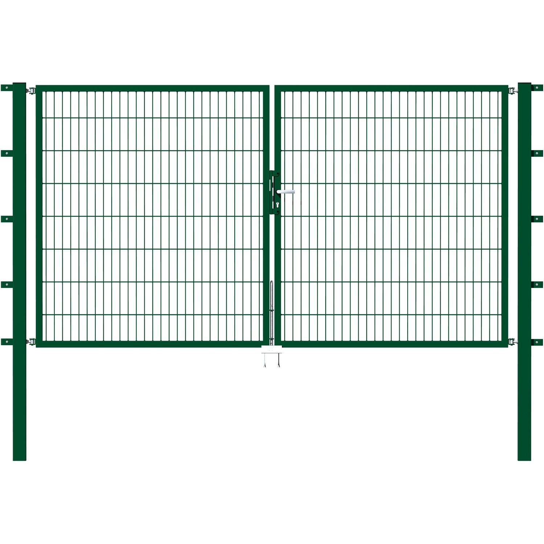 Metallzaun Doppeltor für Doppelstabmatte Grün 180 cm x 300 cm